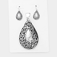 Antique Pattern Hammered Teardrop Metal Magnetic Pendant Set