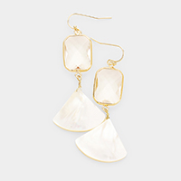 Glass Crystal Pearl Shells Link Dangle Earrings