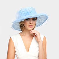 Medium Lace Organza Hat W/ Two Rose in Center