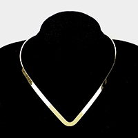 V-Shaped Metal Open Choker Necklace