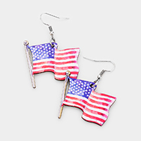 Patriotic Wood Flag Dangle Earrings