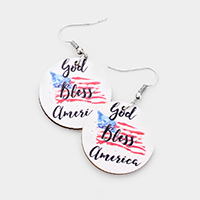'God Bless America' Patriotic Wood Dangle Earrings