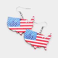 Patriotic Wood USA map Dangle Earrings