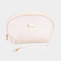 Matte Metallic Faux Leather Cosmetic / Pouch Bag