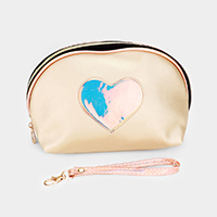 Heart Matte Metallic Faux Leather Cosmetic / Pouch Bag