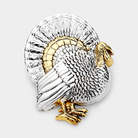 Embossed Turkey Metal Brooch / Pendant