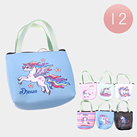 12PCS - Dream Unicorn Handle Coin Purses Key Chain Bags