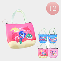 12PCS - Baby Shark Handle Coin Purses Key Chain Bags