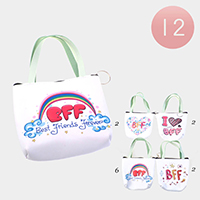 12PCS - BFF Handle Coin Purses Key Chain Bags