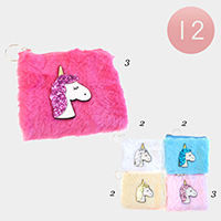 12PCS - Glitter Unicorn Furry Faux Fur Coin Purses Key Chains