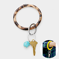 Natural Stone Faux Leather Key Ring /Bracelet