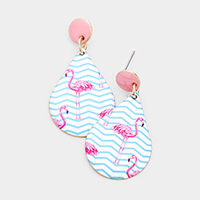 Flamingo Print Teardrop Metal Dangle Earrings