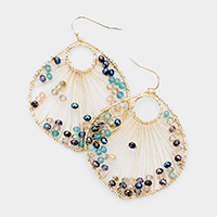 Wire Beaded Drop Earrings