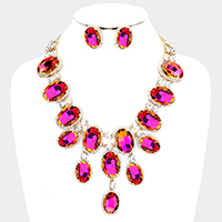 Oval Glass Crystal Drop Evening Necklace