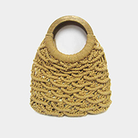 Knit Tote Bag With Wood Handle