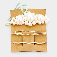 3PCS - Cluster Pearl / Metal Hair Bobby Pins