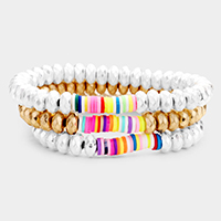3PCS - Shiny Multi Strand Wood Flat Beaded Stretch Bracelet