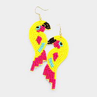 Beaded Parrot Dangle Earrings