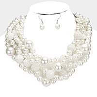 Pearl Bubble Beaded Cluster Bib Necklace