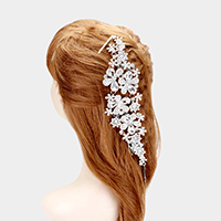 Teardrop Crystal Bead Floral Bun Wrap Headpiece