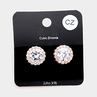 Cubic Zirconia Crystal Rhinestone Round Stud Earrings