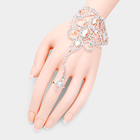 Oval Crystal Rhinestone Pave Hand Chain Evening Bracelet