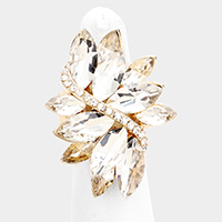 Marquise Oval Crystal Cluster Stretch Ring