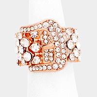 Embellished Crystal Rhinestone Buckle Stretch Ring