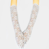 Dressy Floral Lace Long Wedding Gloves