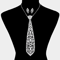 Oval Rhinestone Crystal Tie Statement Necklace