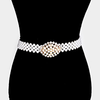 Embellished Pearl Rhinestone pave Stretch Belt