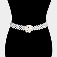Embellished Pearl Flower Rhinestone pave Stretch Belt