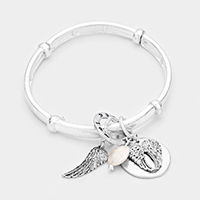 Wing Charm Metal Stretch Bracelet