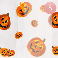 6PCS - Silk Feel Striped Halloween Pumpkin Print Scarf