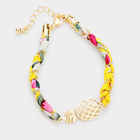 Tropical Pattern Fabric Wrapped Pineapple Bracelet