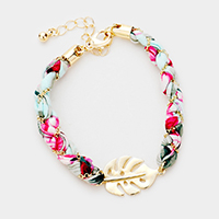Tropical Pattern Fabric Wrapped Leaf Bracelet