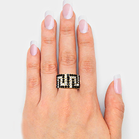 Greek Pattern Crystal Pave Stretch Ring