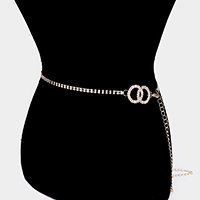 2-Row Crystal Rhinestone Statement Open Circle Belt