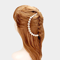 Round Crystal Bead Floral Bun Wrap Headpiece