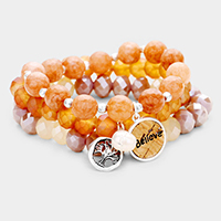 3PCS - Natural Stone Tree Of Life 'Believe' Stretch Bracelets