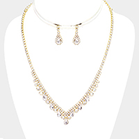 Crystal Rhinestone Pave Marquise Teardrop Drop Necklace