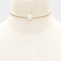 Flat Round Pearl Beaded Choker Necklace