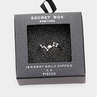 Secret Box _ 14k Gold Dipped CZ Zodiac Sign Pisces Ring