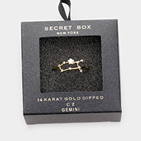 Secret Box _ 14k Gold Dipped CZ Zodiac Sign Gemini Cuff Ring