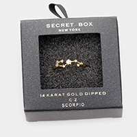 SECRET BOX _ 14K GOLD DIPPED CZ ZODIAC SIGN SCORPIO RING