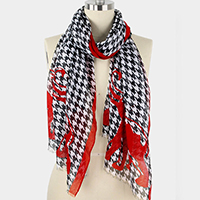 Houndstooth & Elephant Print Scarf