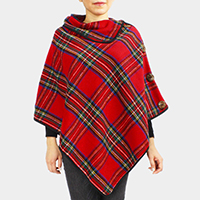 Tartan Coconut Button Detail Poncho