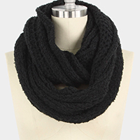 Solid Collar Knit Infinity Scarf