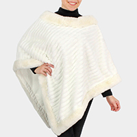 Fur Trim Faux Fur Poncho