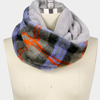 Plaid Double Side Faux Fur Tube Scarf